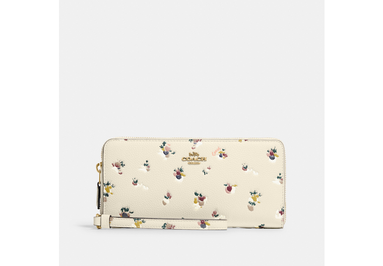 Continental Wallet With Paint Dab Floral Print image number 0