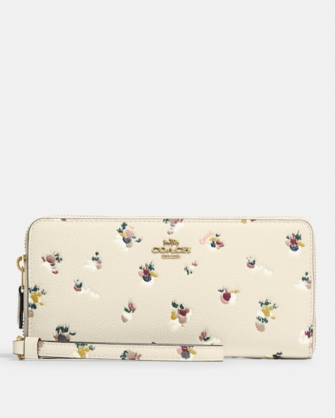 Continental Wallet With Paint Dab Floral Print