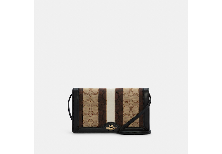 Anna Foldover Clutch Crossbody In Signature Jacquard With Stripe image number 0