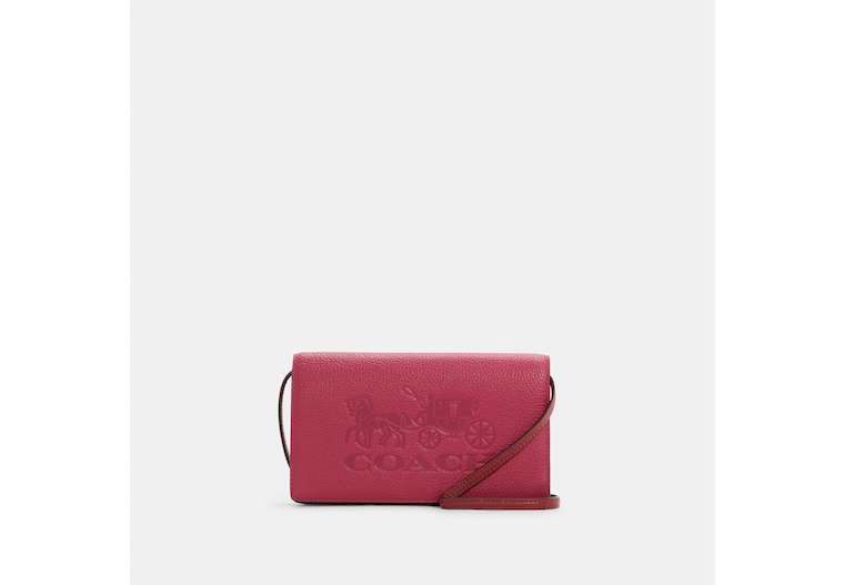Anna Foldover Clutch Crossbody In Colorblock With Horse And Carriage image number 0