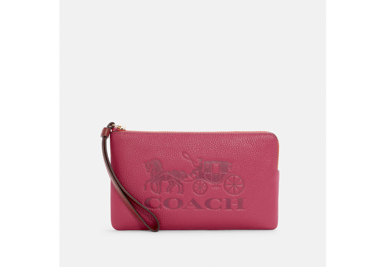 Large Corner Zip Wristlet In Colorblock With Horse And Carriage image number 0