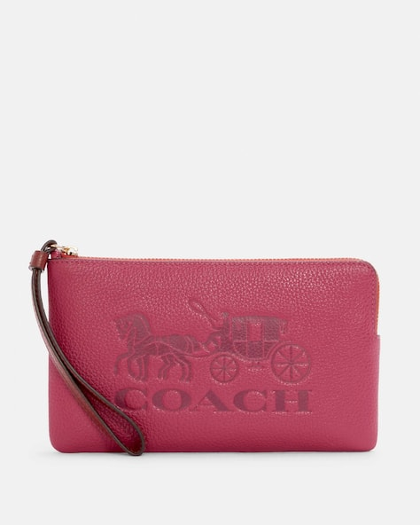 Large Corner Zip Wristlet In Colorblock With Horse And Carriage