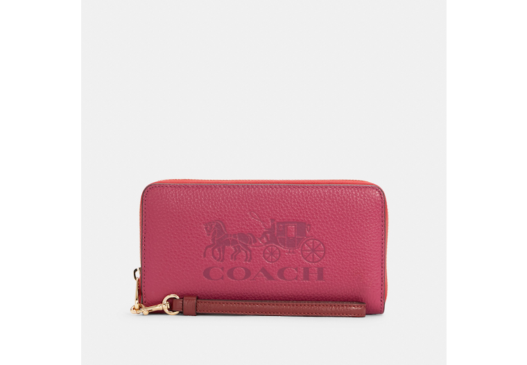 Long Zip Around Wallet In Colorblock With Horse And Carriage image number 0