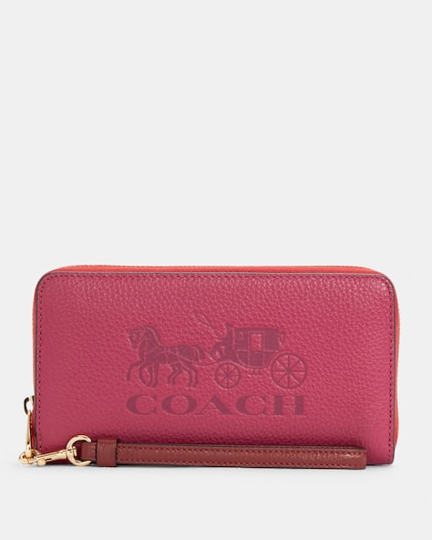 Long Zip Around Wallet In Colorblock With Horse And Carriage