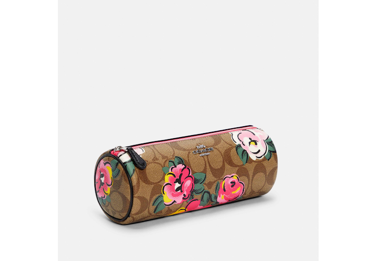Makeup Brush Holder In Signature Canvas With Vintage Rose Print image number 0