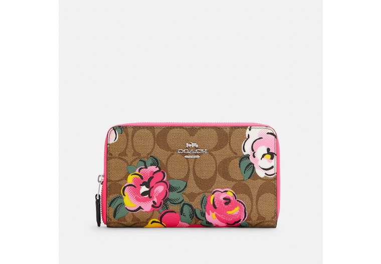 Medium Id Zip Wallet In Signature Canvas With Vintage Rose Print image number 0