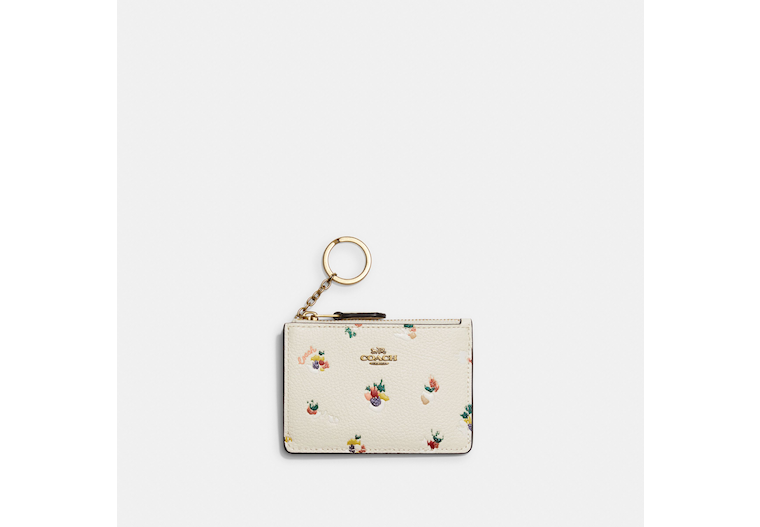 Mini Skinny Id Case With Paint Dab Floral Print image number 0