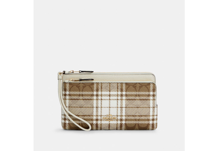 Double Zip Wallet In Signature Canvas With Hunting Fishing Plaid Print image number 0