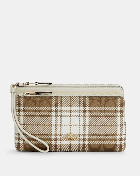 Double Zip Wallet In Signature Canvas With Hunting Fishing Plaid Print