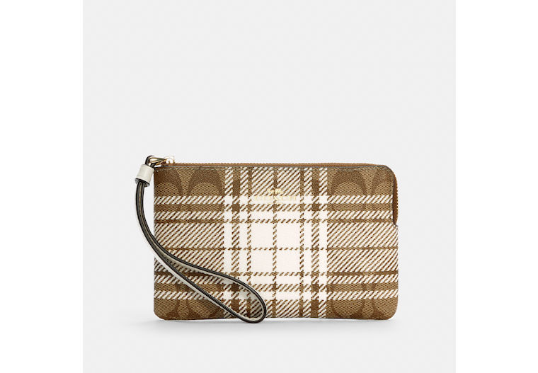 Corner Zip Wristlet In Signature Canvas With Hunting Fishing Plaid Print image number 0
