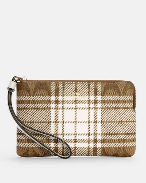Corner Zip Wristlet In Signature Canvas With Hunting Fishing Plaid Print