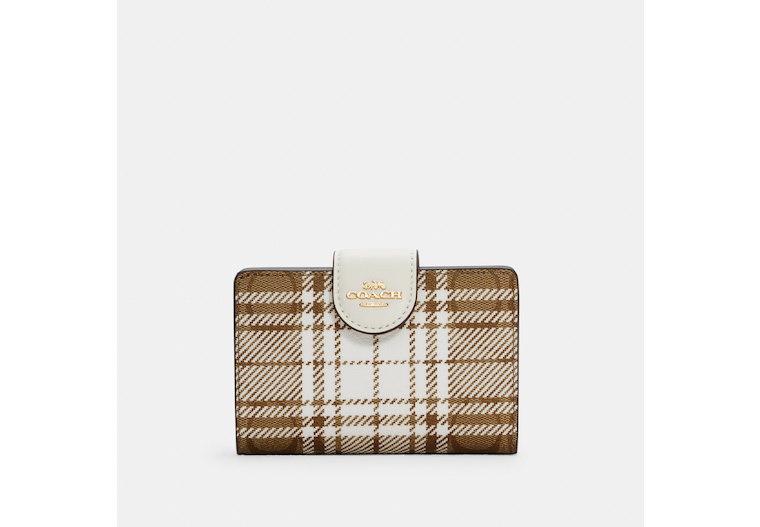 Medium Corner Zip Wallet In Signature Canvas With Hunting Fishing Plaid Print image number 0