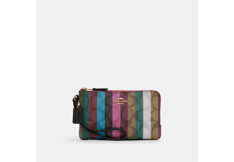 Double Corner Zip Wristlet In Signature Canvas With Stripe Print image number 0
