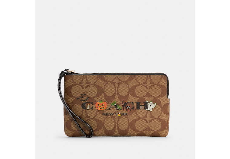 Large Corner Zip Wristlet In Signature Canvas With Halloween image number 0