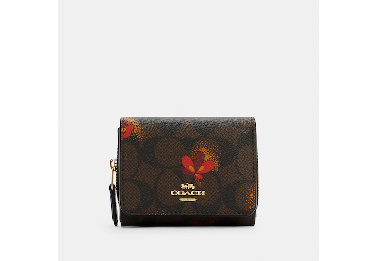 Small Trifold Wallet In Signature Canvas With Pop Floral Print image number 0