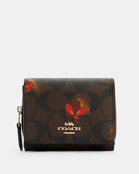 Small Trifold Wallet In Signature Canvas With Pop Floral Print