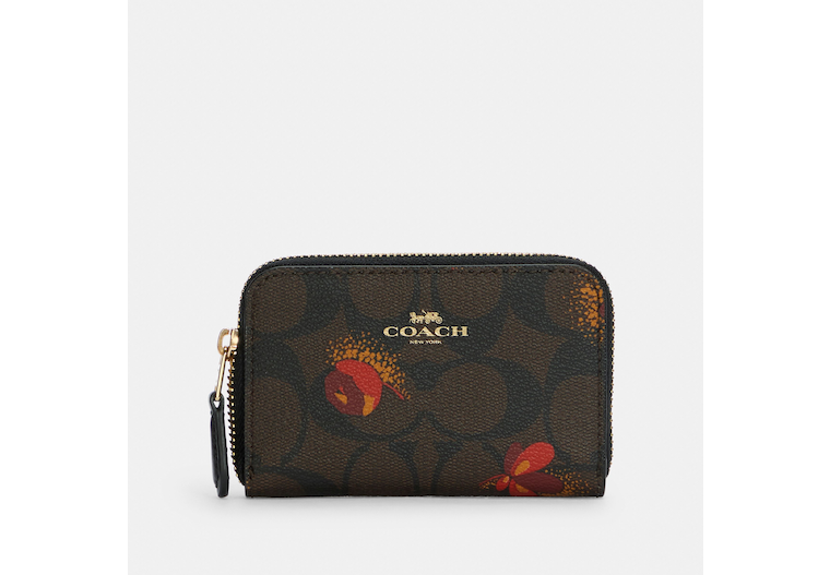 Zip Around Coin Case In Signature Canvas With Pop Floral Print image number 0