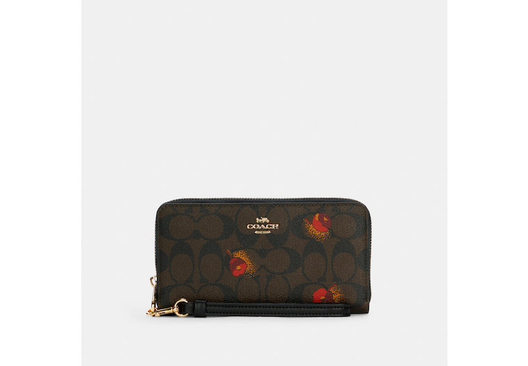 Long Zip Around Wallet In Signature Canvas With Pop Floral Print image number 0