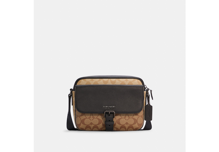 Hudson Crossbody In Blocked Signature Canvas image number 0