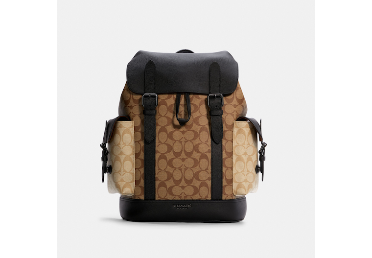 Hudson Backpack In Blocked Signature Canvas image number 0