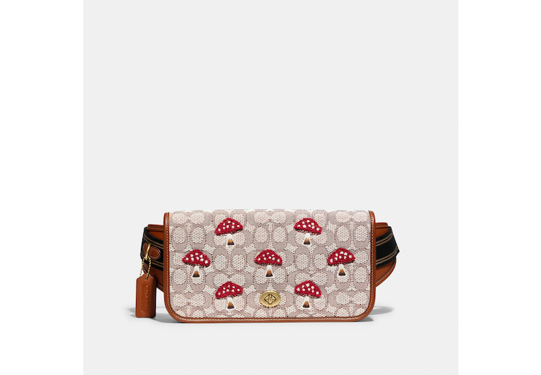 Dinky Belt Bag In Signature Textile Jacquard With Mushroom Motif Embroidery image number 0
