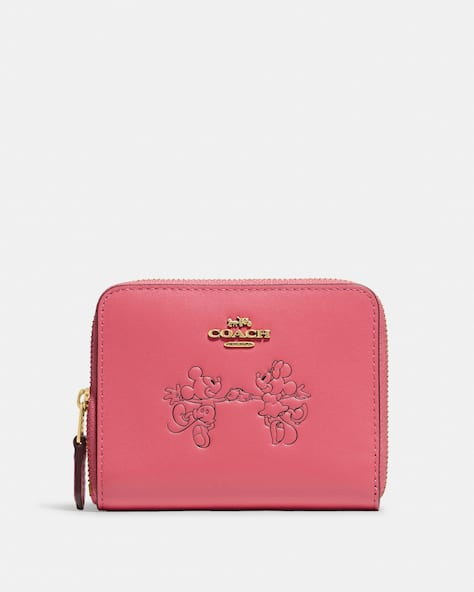 Disney X Coach Small Zip Around Wallet With Mickey Mouse And Minnie Mouse