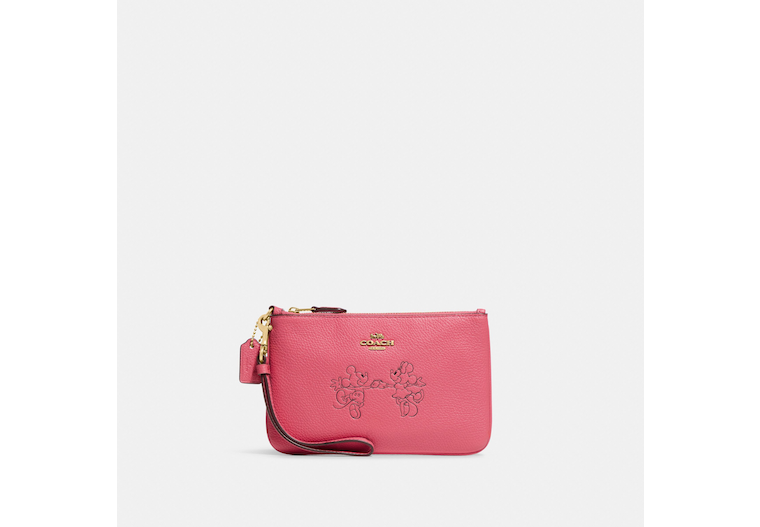 Disney X Coach Small Wristlet With Mickey Mouse And Minnie Mouse image number 0