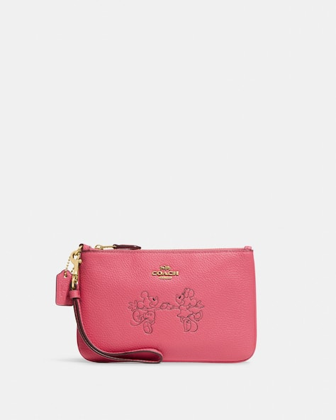 Disney X Coach Small Wristlet With Mickey Mouse And Minnie Mouse