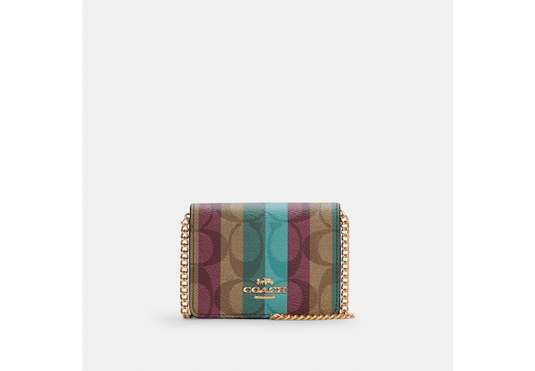 Mini Wallet On A Chain In Signature Canvas With Stripe Print image number 0