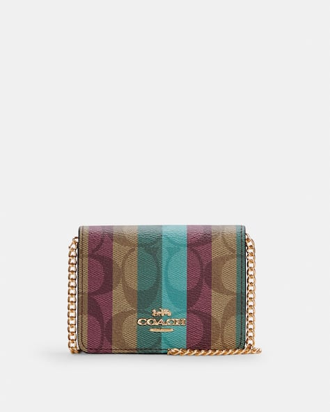 Mini Wallet On A Chain In Signature Canvas With Stripe Print