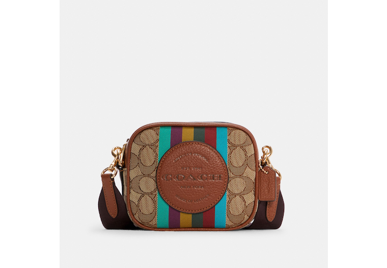 Mini Dempsey Camera Bag In Signature Jacquard With Stripe And Coach Patch image number 0