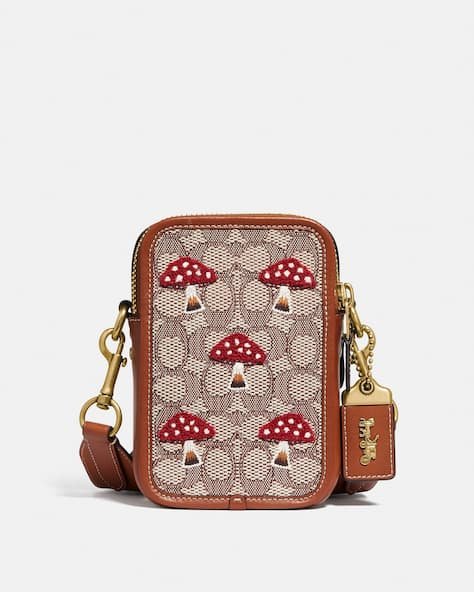 Rogue Crossbody 12 In Signature Textile Jacquard With Mushroom Motif Embroidery