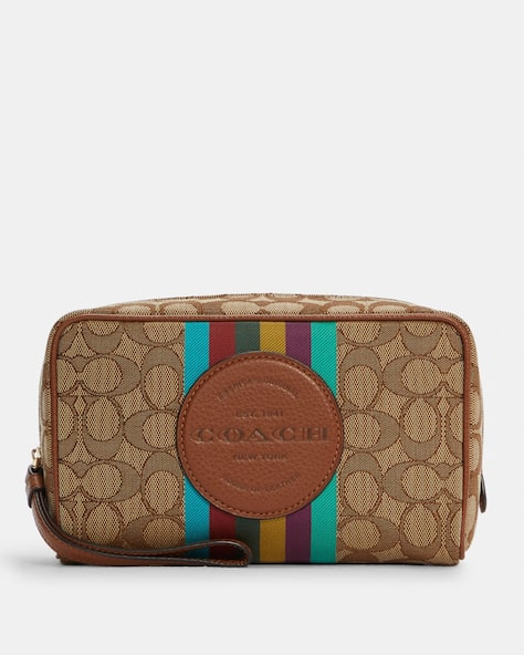 Dempsey Boxy Cosmetic Case 20 In Signature Jacquard With Stripe And Coach Patch