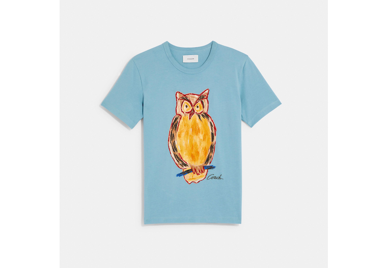 Painted Owl T Shirt In Organic Cotton image number 0