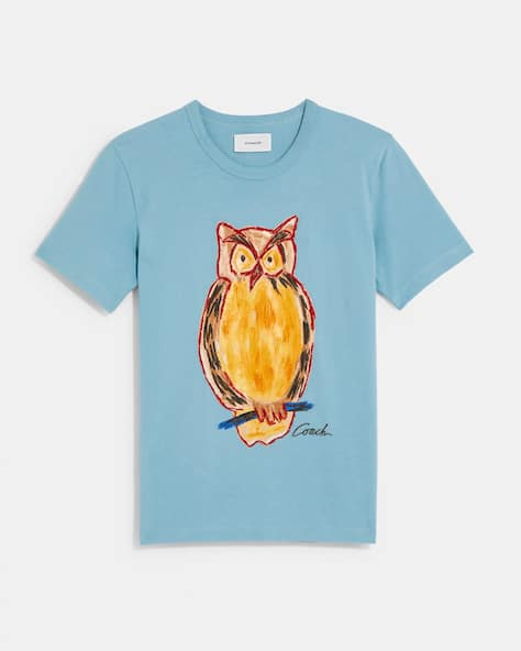 Painted Owl T Shirt In Organic Cotton