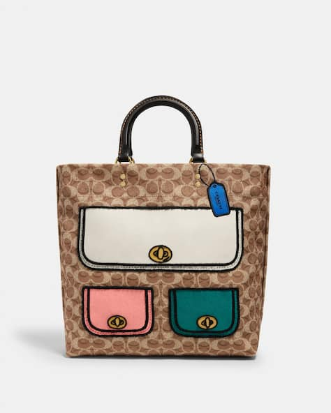 Rogue Tote 29 In Recycled Signature Canvas With Trompe Loeil Print
