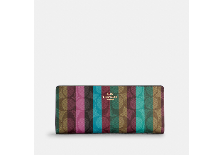 Slim Wallet In Signature Canvas With Stripe Print image number 0