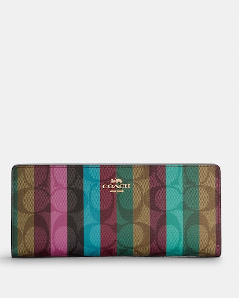 Slim Wallet In Signature Canvas With Stripe Print