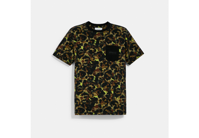 Camo Print Pocket T Shirt In Organic Cotton image number 0
