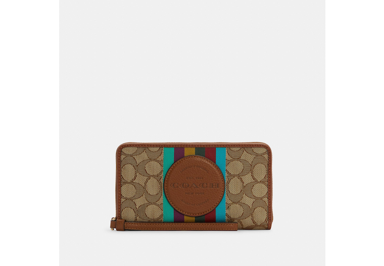 Dempsey Large Phone Wallet In Signature Jacquard With Stripe And Coach Patch image number 0