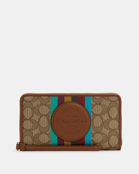 Dempsey Large Phone Wallet In Signature Jacquard With Stripe And Coach Patch