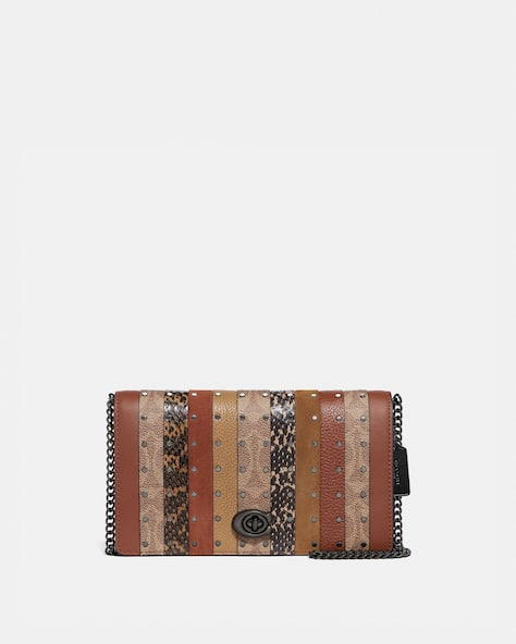 Restored Callie Foldover Chain Clutch With Signature Canvas Patchwork Stripes And Snakeskin Detail