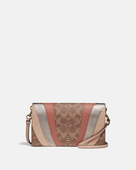 Restored Hayden Foldover Crossbody Clutch In Signature Canvas With Wave Patchwork