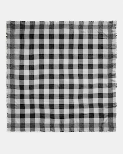 Buffalo Plaid Print Oversized Square Scarf