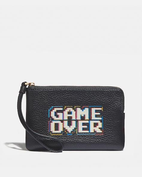 Corner Zip Wristlet With Pac Man Game Over