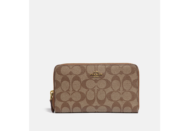 Continental Zip Around Wallet In Signature Canvas image number 0