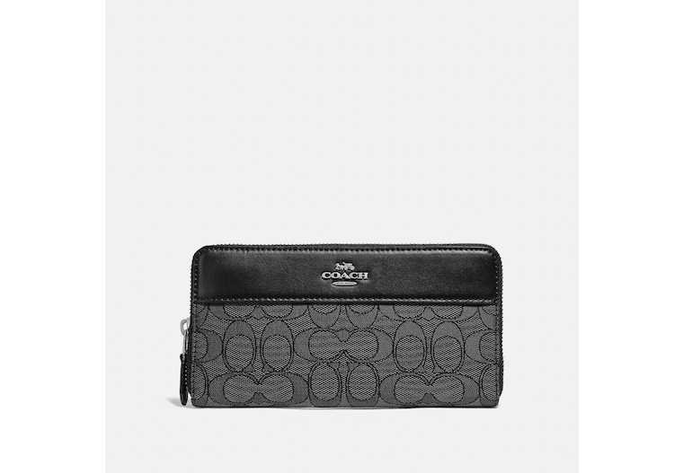 Accordion Zip Wallet In Signature Jacquard With Stripe image number 0