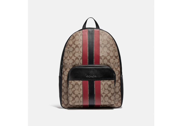 Houston Backpack In Signature Canvas With Varsity Stripe image number 0
