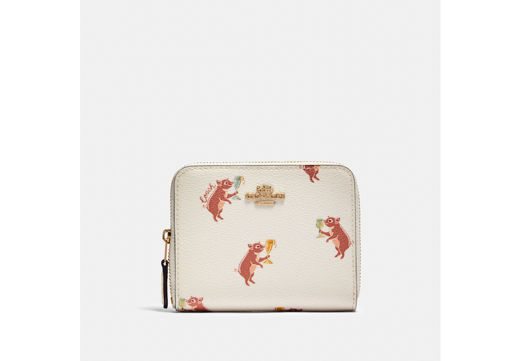 Small Zip Around Wallet With Party Pig Print image number 0